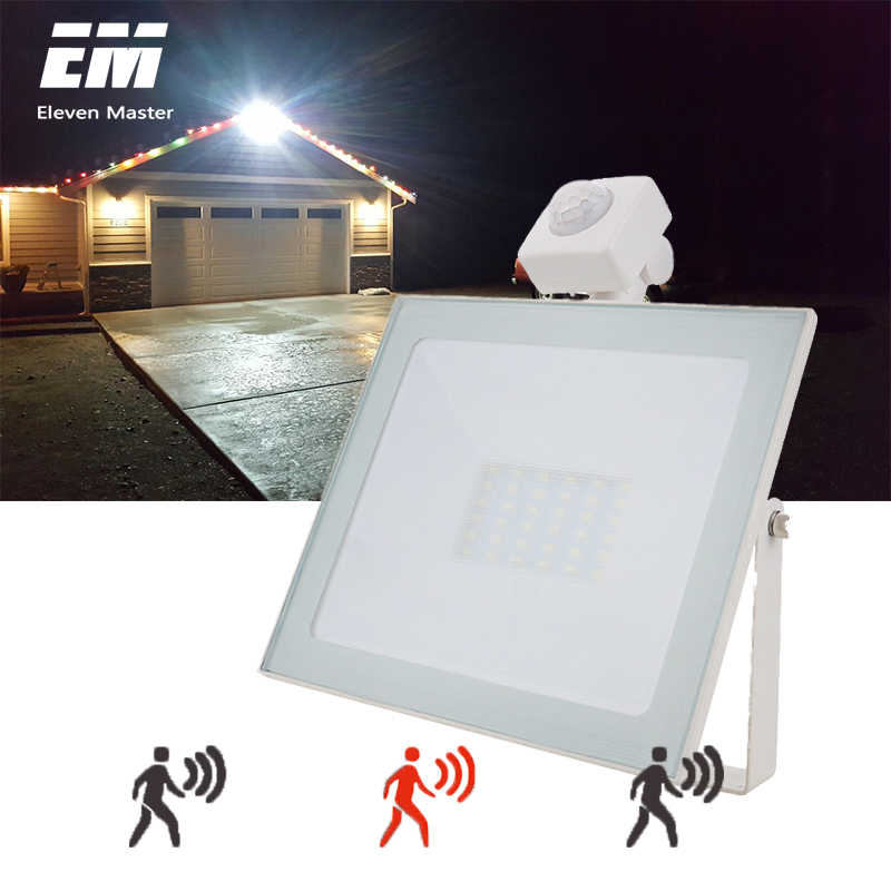 10W 20W 30W 50W LED Flood Light with Motion Sensor AC110V 220V LED Floodlight IP66 Waterproof Outdoor Spotlight Garden ZFG0008