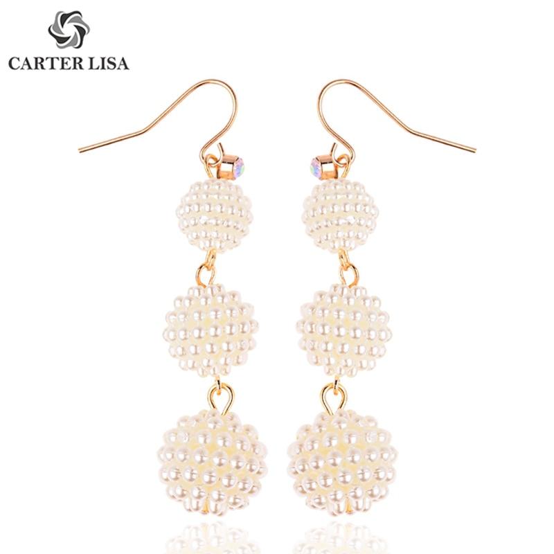CARTER LISA Chic Bohemian Charm Long Pearl Ball Dangling Earrings For Women Ethnic Boho Wedding Gifts Boucle D'oreille Femme