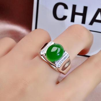 Luxurious heavy big round Natural green jasper gem Ring Natural gemstone ring S925 silver  man women's party gift Jewelry