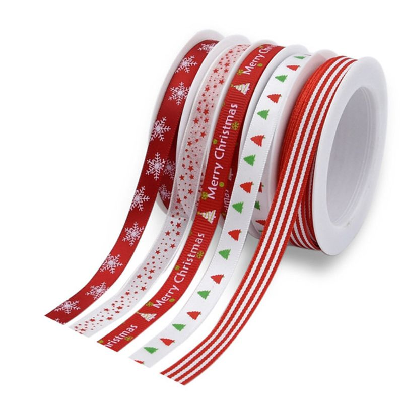 5 Rolls Christmas Grosgrain Ribbon Snowflake Tree Printed For DIY Gift Wrapping 40JF
