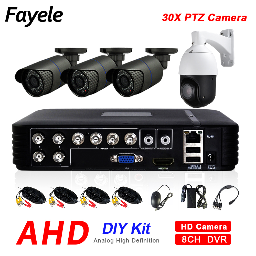 CCTV Outdoor 8CH Hybrid DVR AHD 4CH Security Camera System 1080P 30X ZOOM PTZ Camera Pan Tilt Home Surveillance DIY KIT image
