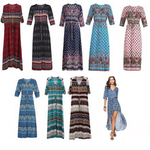 2019 New Summer Dress Womens Clothing Best Selling Bohemian Print Beach V Neck Loose