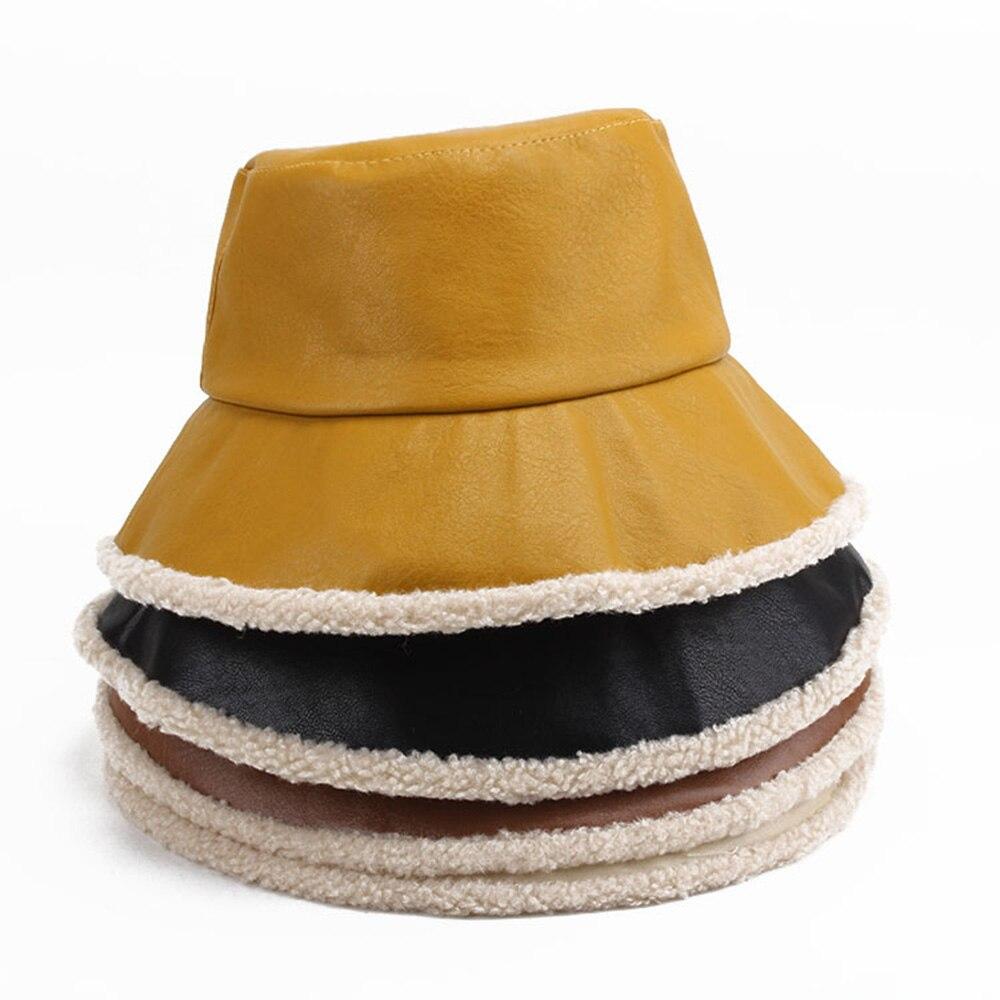 Sombrero EdgeBucket crudo de PU para mujer, gorros de cubo sólidos de terciopelo cálido, Unisex, moda de un solo lado, gorras de pescador, turismo