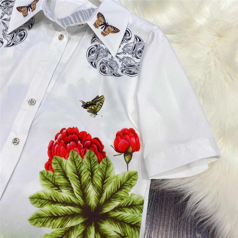 Mode Zomer Vrouwen Runway Set 2020 Nieuwe Designer Korte Mouwen Print Blouse En Onregelmatige Rok Pak Bijpassende Set 2 Stuk kleding