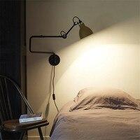 Nordic Classic adjustable modern industrial Long swing arm black wall lamp sconce vintage E27 lights for Bathroom bedroom foyer