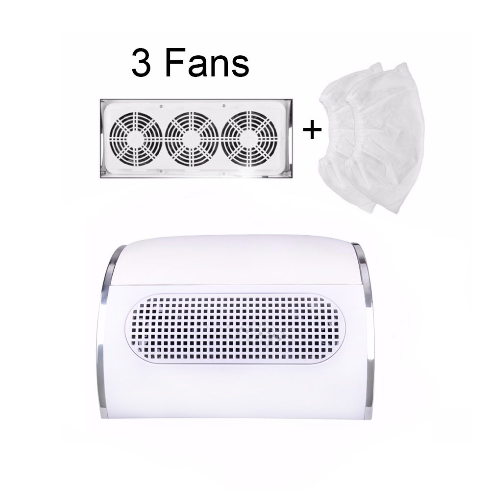 60W Nail Suction Dust Collector Large Size Strong Nail Vacuum Cleaner Machine With 3 fans 2 bags EU/US Plug Salon Tool