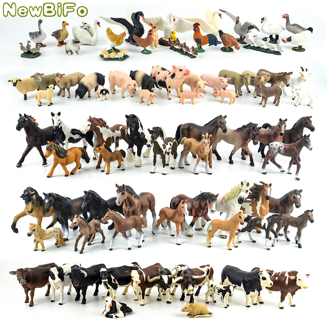 44 types horse collection 68 types farm animals series Chicken duck goose swan pig dog cat cow sheep model toys children gift
