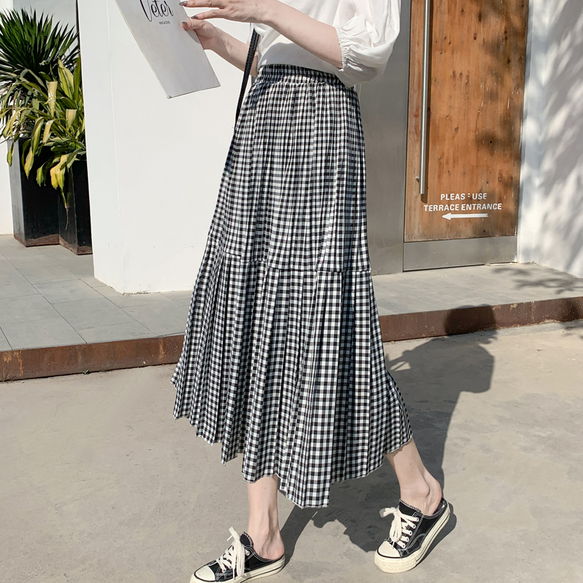 2020 Spring Summer Plaid Pleated Skirt Elastic High Waist Midi Long A-line Skirt Womans Harajuku Preppy Style Vintage Skirt
