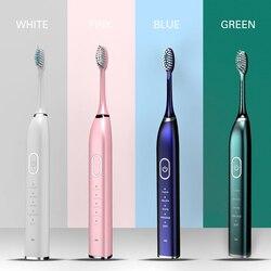 Cepillo de dientes eléctrico sónico inteligente de 10 modos cepillo de dientes recargable por USB 5 cabezas de repuesto temporizador resistente al agua para adultos diente blanco