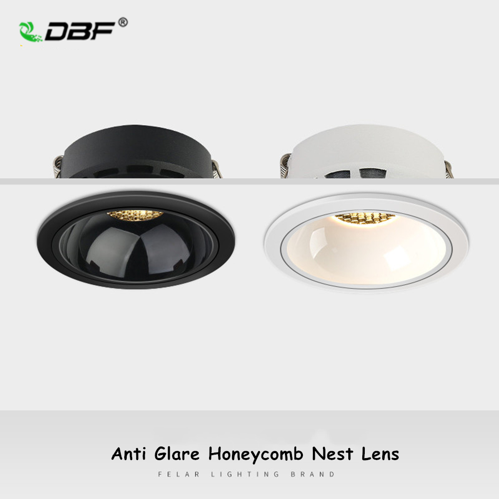 DBF 2021 New Anti-Glare Ceiling Spot Light 7W 12W 18W 20W Honeycomb Nest Reflector Hotel Wall Washer Dimmable Embedded Downlight