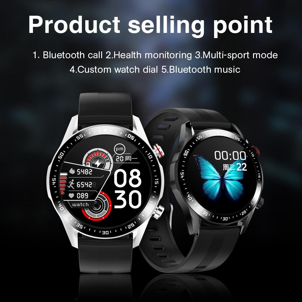 E1-2 Smart Watch uomo Bluetooth chiamata quadrante personalizzato schermo a sfioramento completo Smartwatch impermeabile per Android IOS sport Fitness Tracker 2