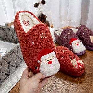 Image 5 - 2019 Winter Cotton Slippers Christmas Cartoon Xmas Deer Women Shoes Lovely santa clause Home Floor Soft non slip men Slippers