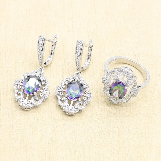 Silver Color Multicolor Rainbow Zircon Jewelry Set for Women Earrings Necklace Pendant Ring Gift Box