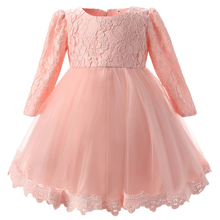 AmzBarley Long sleeves Girls Lace dress children Bowknot wedding party Ball gown princess tutu Dress Birthday prom evening Gowns