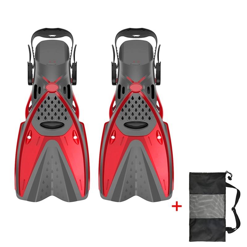 Дети взрослые профессиональные ласты для плавания Подводное плавание дайвинг Обучение Купальники гибкие ласты обувь ножная одежда - Color: Red
