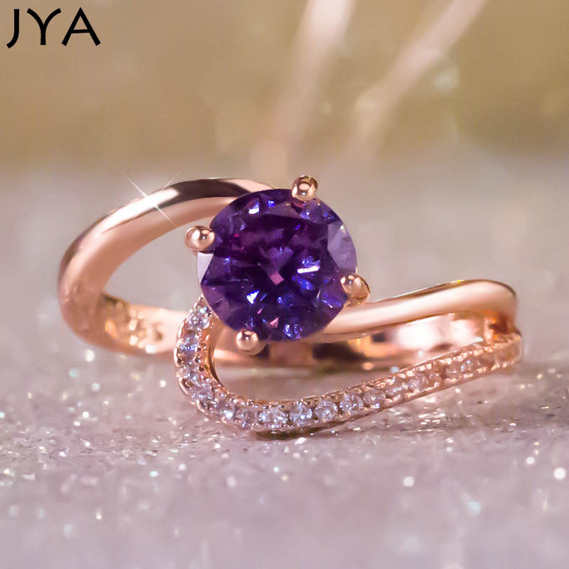 JYA anneaux de mariage pour femmes CZ violet cristal Zircon Cocktail fête Bague Anillos Bijoux Femme Bijoux nouvelle mode 2018