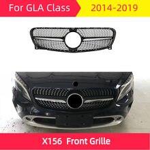 Rejilla delantera de diamante para coche, estilismo para parrilla de automóvil, ABS, X156 2013-2018 para mercedes, clase GLA GLA180, GLA200, GLA250, glam45