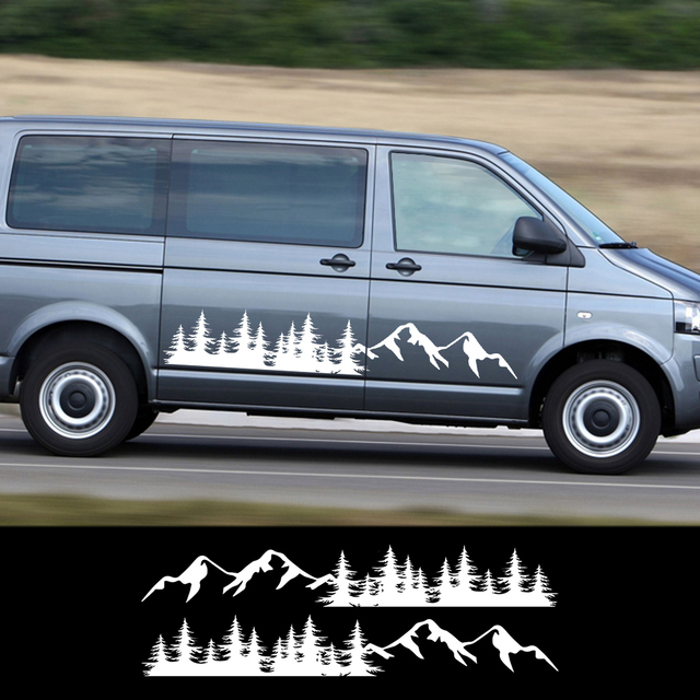 2 pçs porta lateral do carro adesivos montanha floresta decalque para volkswagen vw multivan transporter t5 t6 toyota elfa acessórios