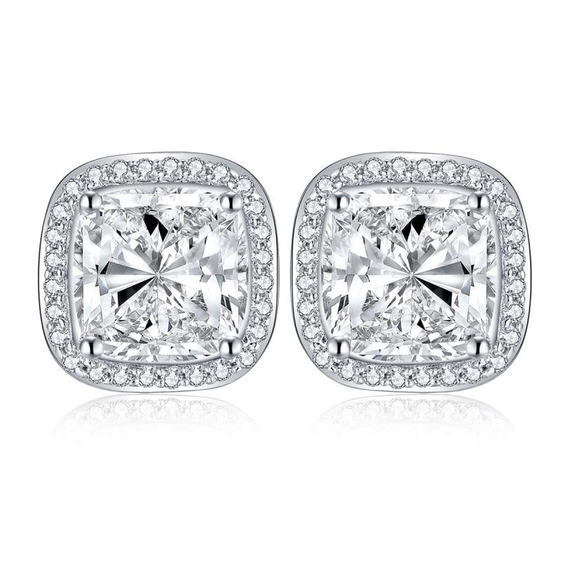 LESF Trendy 925 Silver Charm Stud Earring cushion Cut Synthetic Diamond Vintage Earrings Jewelry For Women Friend Gift