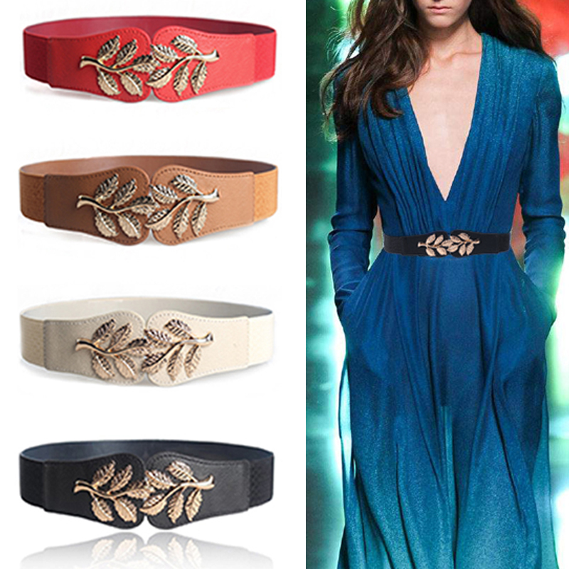 New Fashion Leaf Waistbands Stretchy Lady Elastic Cummerbunds For Women Dark Blue Belt Dress Gold Double Metal Buckle Waistband