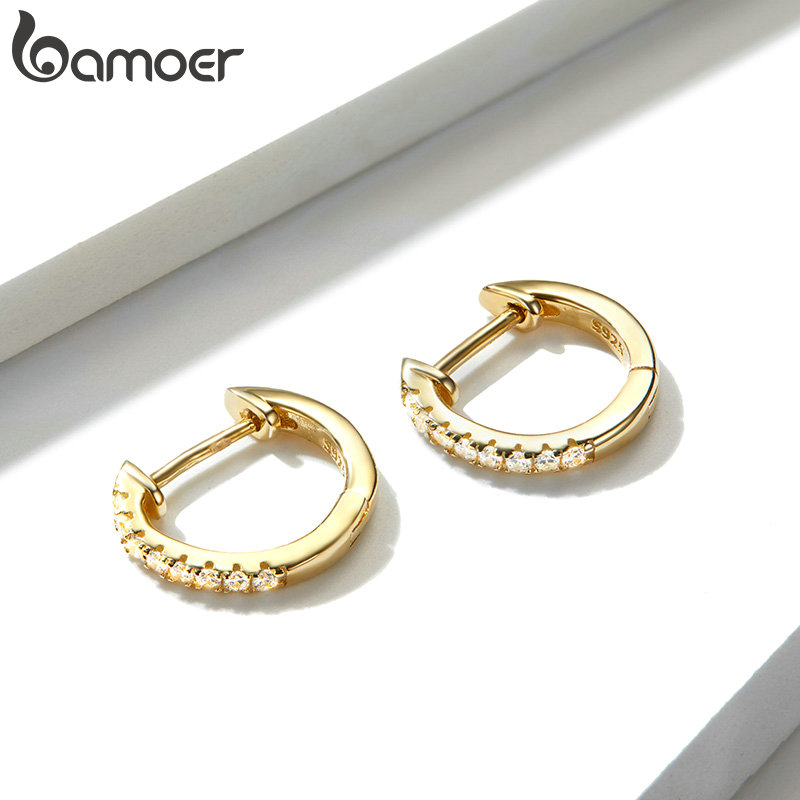 bamoer Authentic HOT SALE 6 Colors Circle Earrings for Women Silver 925 Gold Color Wedding Statement Jewelry Brincos SCE498 3