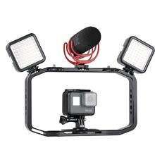 купить Handheld Video Rig for DSLR Camera Phone Gopro Vertical Shooting Phone Cage for Canon Nikon iPhone Xs Max X 8 7 Gopro 5 6 7 дешево
