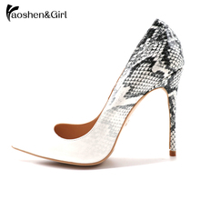 Купить с кэшбэком Haoshen&Girl 2020 Spring Shoes Woman High Heels 12/10/8CM Women Pumps High Heel Shoe Female Snake Printed Stiletto Size 34-45