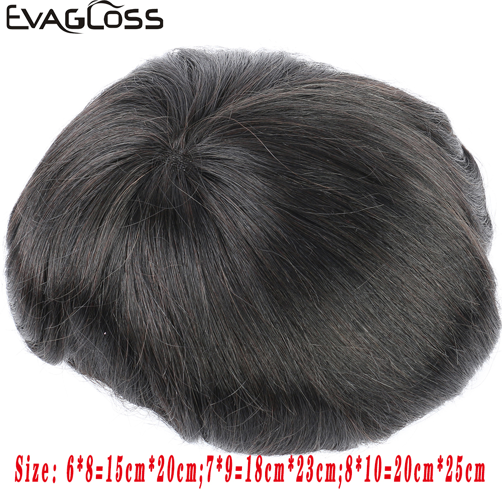 EVAGLOSS Durable Breathable Mens Toupee French Lace With Poly Coating Indian Human Hair System For Mens Wig Free Shipping