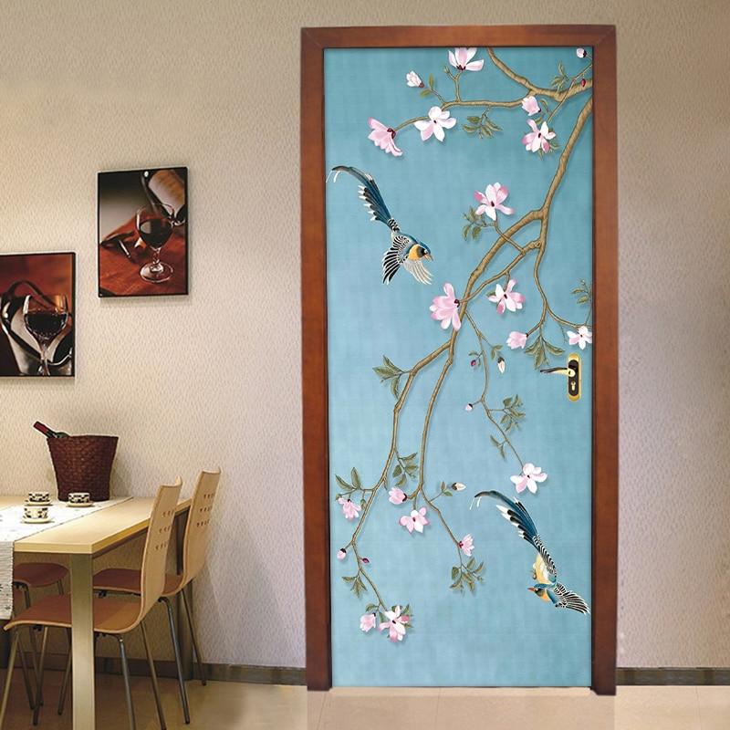 Chinese Style Flower Bird Mural Waterproof Self-adhesive Door Sticker Vinyl Wall Paper For Living Room Bedroom Door Decoration