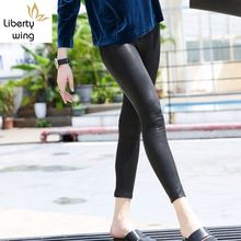 Top Qualität Frauen Stretch Echtem Leder Bleistift Hosen Push-Up Dünne Leggings Sexy OL Streetwear Punk Schaffell Biker Hosen(China)