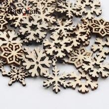 20 개/몫 천연 나무 스크랩북 눈송이 패턴 수제 페인트 가구 장식 공예품 Diy 휴일 장식