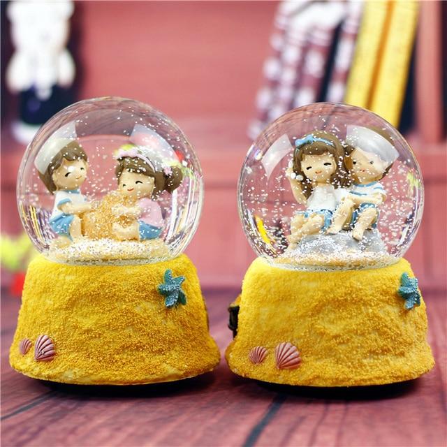 Children toy birthday Christmas gift Cartoon Girls Beach couple lovers snow Crystal Ball toy snow light Music