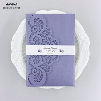 50× Violet Laser Cut Wedding Invitation Card Lace Flower Greeting Card Customize With RSVP Card Ribbon Wedding Party Supplies