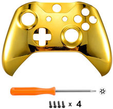 Para Microsoft Xbox One S & Xbox One X Controller Chrome Gold Edition carcasa frontal carcasa cubierta reemplazo placa frontal(China)