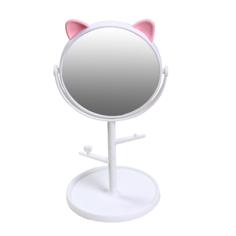 MFEISI Makeup Mirror Or 10X Mirror Can Choose Cat Ears Cosmetic Mirror Operated Stand For Tabletop Bathroom Travel