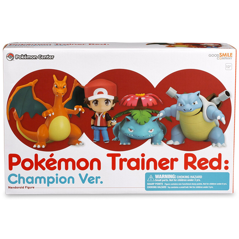 pokemon Japanese anime movie figures pokemon center pokemon trainer red champion Ash Ketchum Charizard action figures with box image