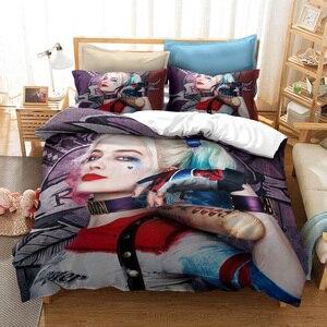 Комплект постельного белья Harley Quinn из фильма «Отряд Самоубийц» с 3D принтом, пододеяльник с принтом «Клоун», двойной полноразмерный двуспаль...