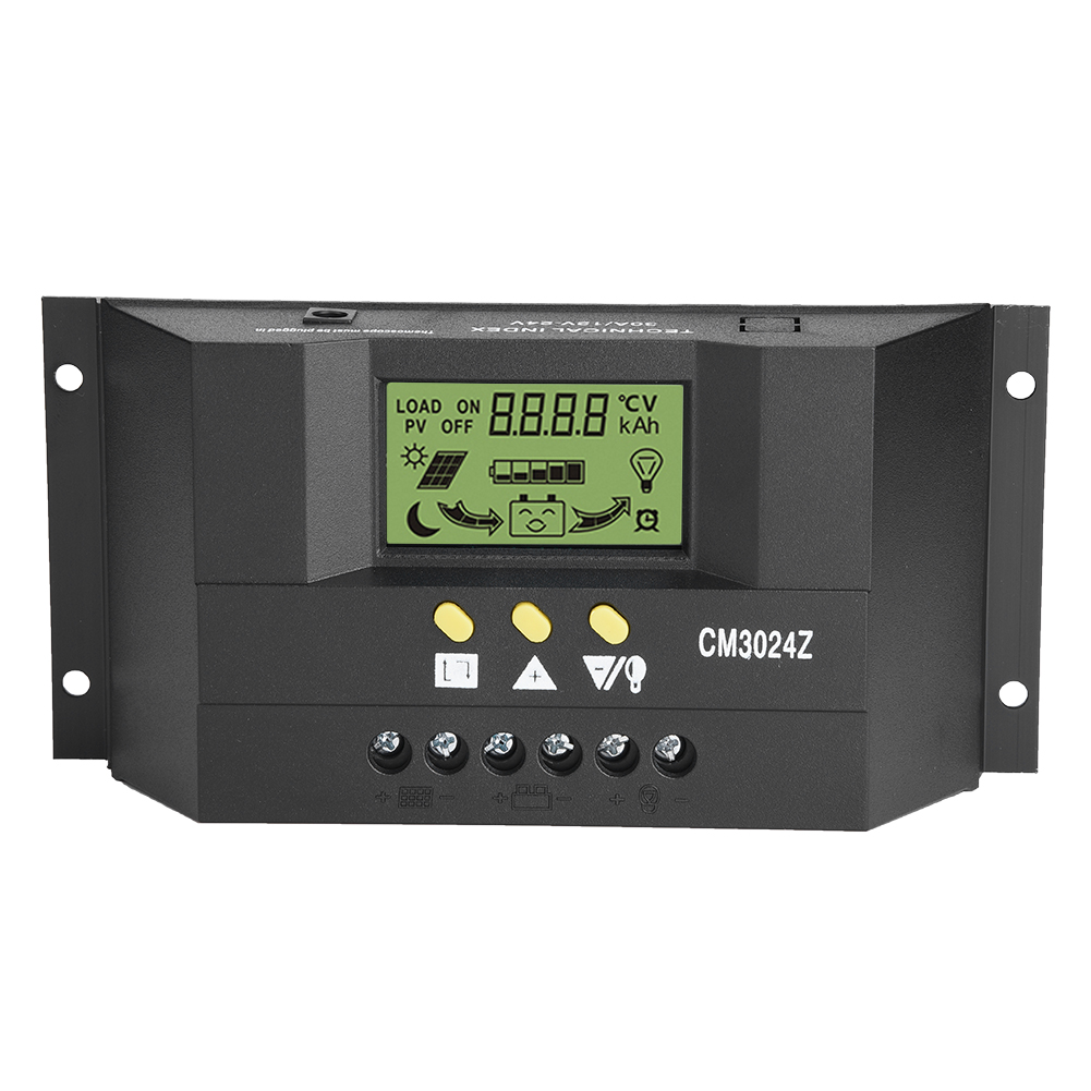 CM3024Z <font><b>PWM</b></font> Smart <font><b>Solar</b></font> Regulator <font><b>Charge</b></font> <font><b>Controller</b></font> Regulator LCD Display <font><b>Solar</b></font> Panel Generator Voltage Current 12V/24V Auto <font><b>30A</b></font> image