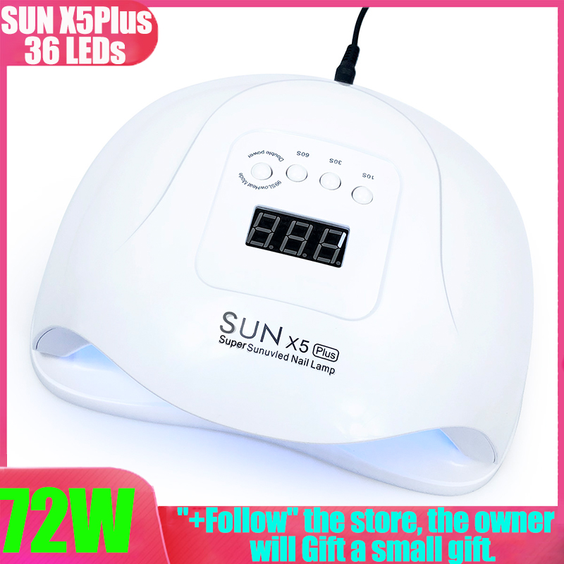 UV Lamp 72W Nail Dryer Machine UV SUNX5 PLUS Gel Polish Quick Drying With Bottom Timer LCD Display Nails Oven Gel Nail Lamp