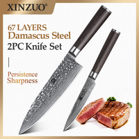 XINZUO 2 PCS Kitchen Knife Sets Japanese Damascus Steel Kitchen Knife Pro Chef Paring Knives for Vegetables Pakka Wood Handle