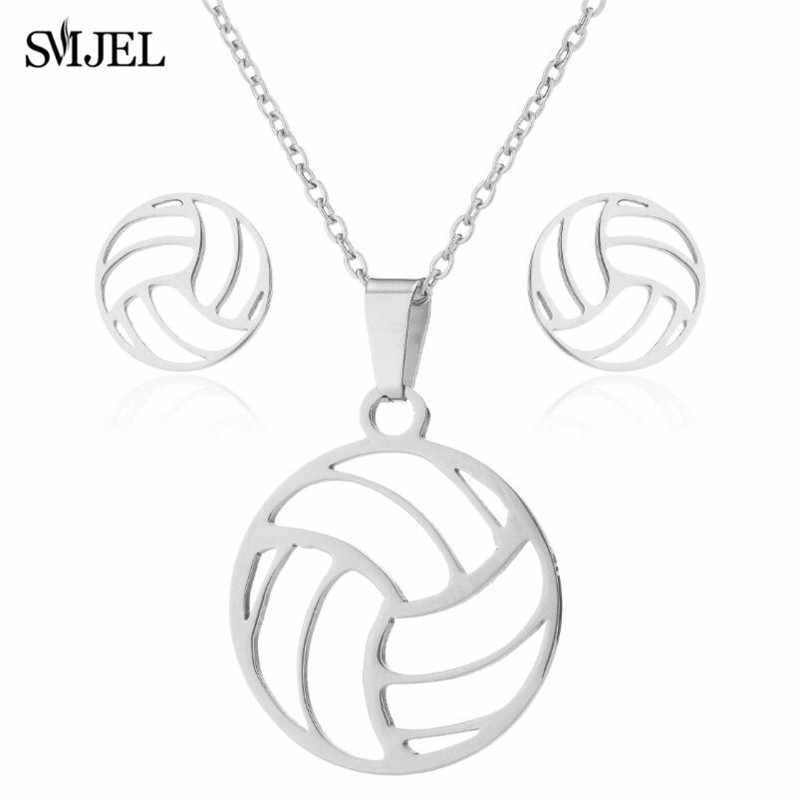 SMJEL collar de voleibol de plata conjuntos de pendientes de bola para hombre y mujer joyería deportiva regalos bola Volley deportes Club ventilador collar mejor regalo
