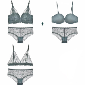 Image 2 - 2 bra and 1 panty 3 colors seamless push up brassiere, ultrathin floral lace bras and transparent panties sexy women lingerie
