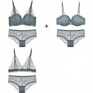 Image 2 - 2 sutiã e 1 calcinha 3 cores sem costura push up soutien, ultrafinos sutiãs de renda floral e calcinha transparente lingerie feminina sexy