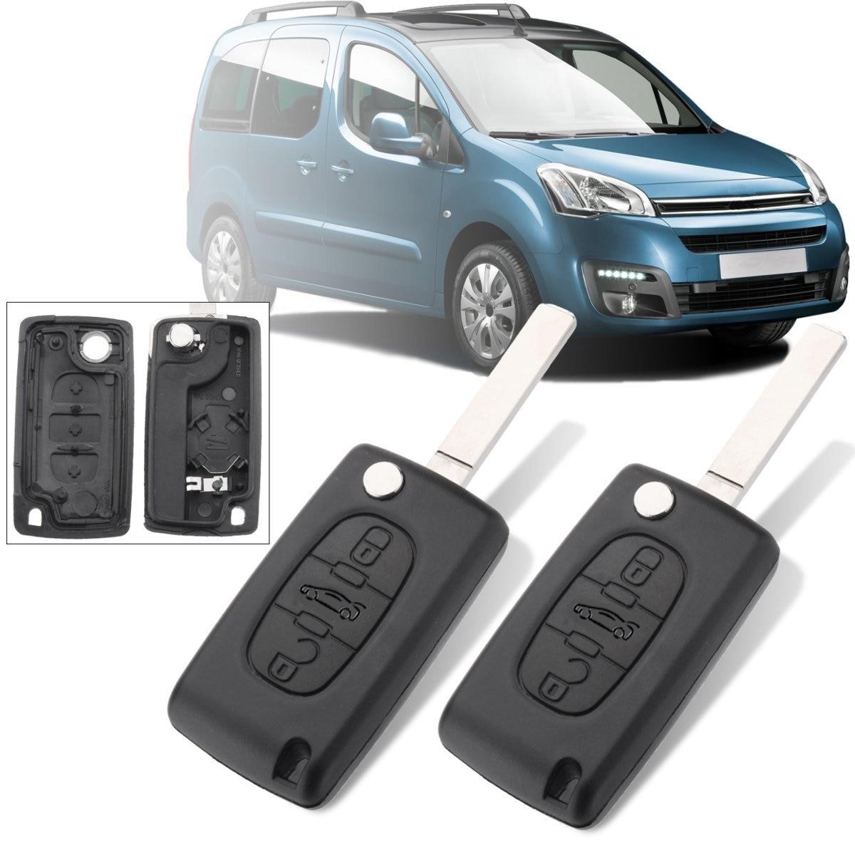 1 пара, 3 кнопки, автомобильный пульт дистанционного управления, чехол-брелок с лезвием для Citroen Berlingo