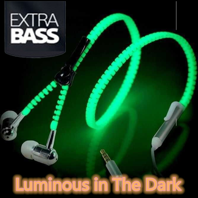 Fashion Glow In The Dark Metal Earphones Earbuds With Mic Glowing Zipper Headset Luminous Light Stereo Handsfree Earphone