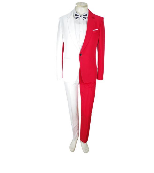 New Suit Personality Jacket Blazers Fashion Men Wedding Red Slim  Graduation Suits Male Pants Coat White Luxury Suit Party Men