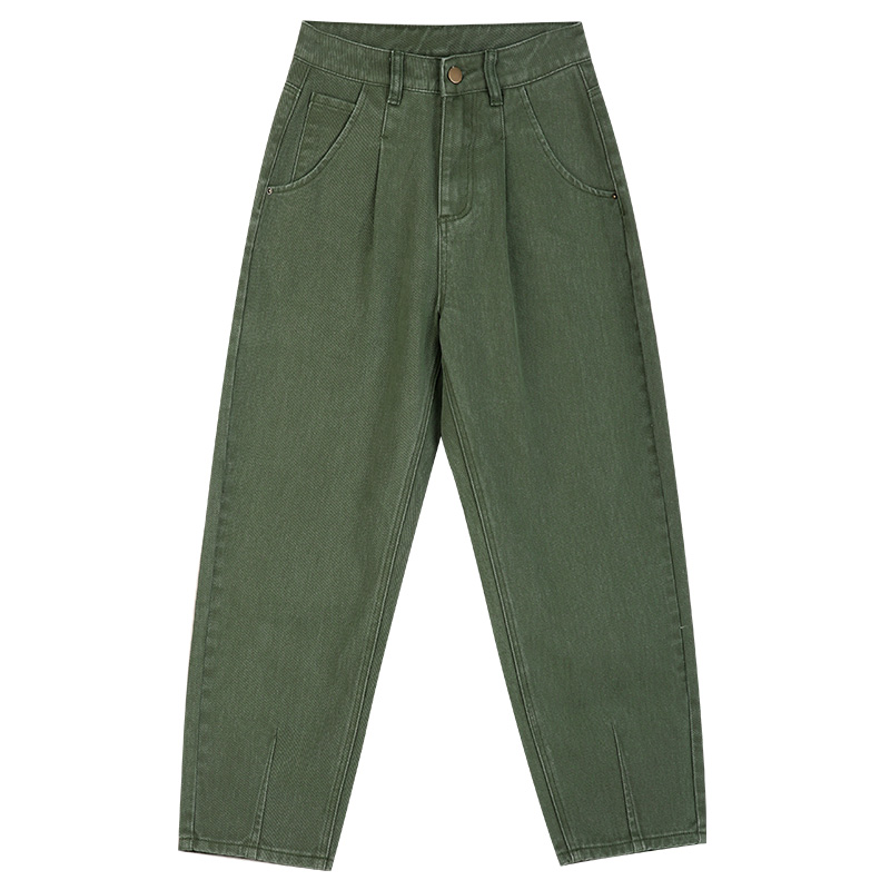LEIJIJEANS New 2019 Black Large Size Women's Non-elastic High Waist Loose Jeans Loose Casual Army Green Harlan Girl Jeans 9116