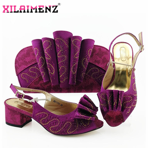 Image 5 - Silver Latest Comfortable Shoes and Bags Set African Sets 2019 Italian Shoes and Matching Bags Women Rhinestone Wedding Shoe