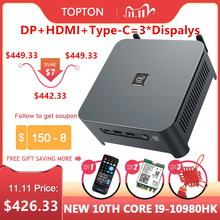TOPTON 10th Gen Core i9 10980HK i7 10750H Mini PC 2 Lan Finestre 10 2 * DDR4 2 * NVMe Gaming Computer DP HDMI Tipo-C 3x4K Display