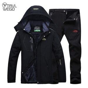 Image 2 - TRVLWEGO Winter Ski Suit Men Windproof Waterproof Snowboard Jacket and Pants Outdoor Super Warm 2 in 1 Thermal Fleece Snow Coat